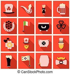 アイルランド, セット, アイコン, パトリック, st. 。, flet, 日, シンボル, shadow.