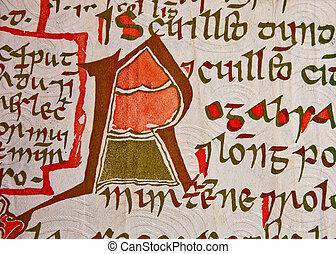 アイルランド, ポンド, 古い, 原稿, メモ, gaelic, closeup.