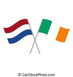 アイルランド, netherlands, 旗, 隔離された, ベクトル