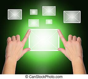 アイロンかけ, 印, 上に, 感触, 黒, 青い背景, インターフェイス, 女性, 電子メール, スクリーン, 手