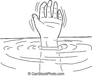 アウトライン, の, 手, 中に, 水