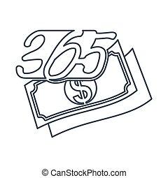 アウトライン, アイコン, お金財政, ロゴ, デザイン, 無限点, イラスト, 365