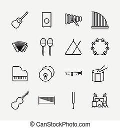 アウトライン, アイコン, イラスト, 道具, ベクトル, 音楽