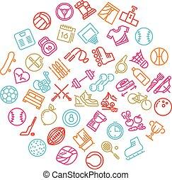 アウトライン, アイコン, フィットネス, 最新流行である, ロゴ, 線, スポーツ, 道具, 円, design.