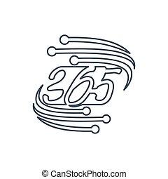 アウトライン, アイコン, ロゴ, デザイン, 無限点, イラスト, 365, 技術