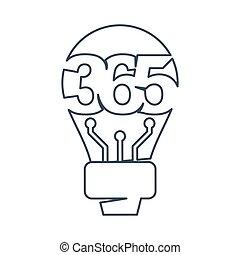 アウトライン, アイコン, ロゴ, デザイン, 考え, 無限点, イラスト, 365, 電球