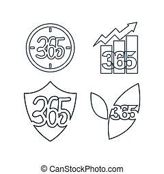 アウトライン, アイコン, 葉, 時間, ロゴ, 無限点, ビジネス, 365, 保護