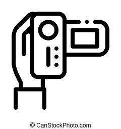 アウトライン, カメラ, ベクトル, イラスト, ビデオ, アイコン