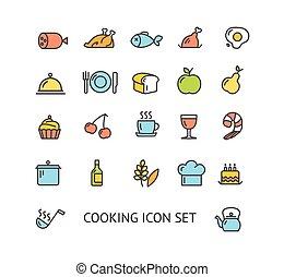 アウトライン, カラフルである, set., 料理, ベクトル, アイコン
