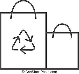 アウトライン, シンボル, -, 袋, ペーパー, リサイクルしなさい, アイコン