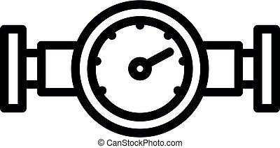 アウトライン, スタイル, アイコン, 水, 圧力計