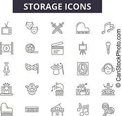 アウトライン, セット, アイコン, 貯蔵, 貯蔵, illustration:, vector., サイン, 線, 概念