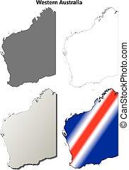 アウトライン, セット, オーストラリア, 地図, 西部