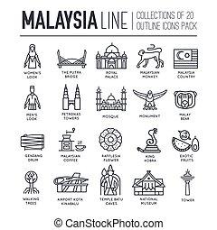 アウトライン, セット, 建築, マレーシア, infographic, 平ら, ファッション, concept., 休暇, 項目, 背景, 民族, feature., 線, アイコン, 人々, 国, 伝統的である, 場所, 薄くなりなさい, 記念碑, 旅行