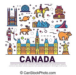 アウトライン, セット, 建築, infographic, カナダ, 平ら, ファッション, concept., 休暇, 項目, 自然, 背景, 民族, feature., 線, アイコン, 人々, 国, 伝統的である, 場所, 薄くなりなさい, 旅行