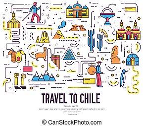 アウトライン, セット, 建築, infographic, チリ, 平ら, ファッション, concept., 休暇, 項目, 自然, 背景, 民族, feature., 線, アイコン, 人々, 国, 伝統的である, 場所, 薄くなりなさい, 旅行