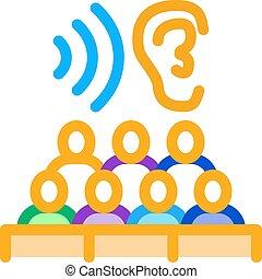 アウトライン, セミナー, アイコン, ベクトル, 聴衆, 聞くこと, イラスト