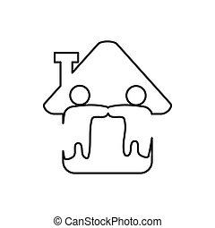 アウトライン, チームワーク, 約束, 一緒に, 関係, 家, ロゴ