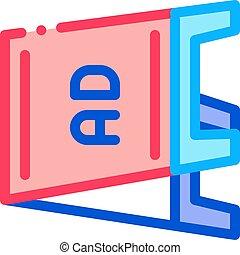 アウトライン, ベクトル, イラスト, 折りたたみ, 広告板, アイコン