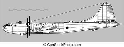 アウトライン, ベクトル, boeing, superfortress., b-29, 図画