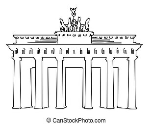 アウトライン, ベルリン, brandenburger, ベクトル, アートワーク, 門