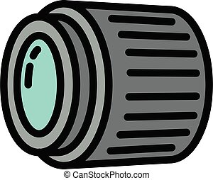 アウトライン, レンズ, アイコン, カメラ, スタイル