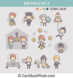 アウトライン, 人々, イラスト, 特徴, 負債, 漫画