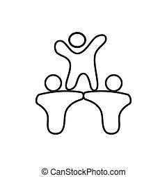 アウトライン, 人々, 約束, 一緒に, チームワーク, ロゴ
