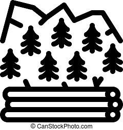 アウトライン, 伐採, アイコン, 森林, ベクトル, イラスト