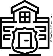 アウトライン, 別荘, 家, 監視, アイコン, スタイル