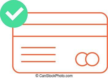 アウトライン, 印, クレジット, 緑, カード, 点検, 赤