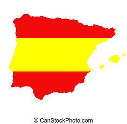 アウトライン, 地図, の, スペイン, 白