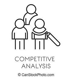 アウトライン, 始動, 隔離された, 分析, ビジネス, 分析, 競争, データ, ∥あるいは∥, アイコン