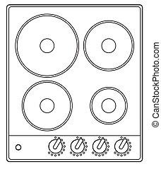 アウトライン, 暖炉内部の棚, 4, プレート, 基準, 電気である
