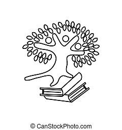アウトライン, 木, 約束, 一緒に, 本, チームワーク, ロゴ