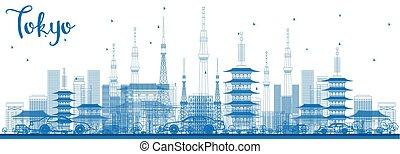 アウトライン, 東京, スカイライン, ∥で∥, 青, 建物。