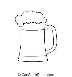 アウトライン, 泡だらけ, 大袈裟な表情をしなさい, drink., 泡, ビール, 背景, 白, 隔離された, 空, 大袈裟な表情をしなさい