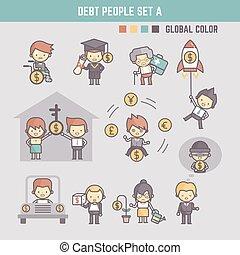 アウトライン, 漫画, 特徴, イラスト, の, 人々が中にいる, 負債