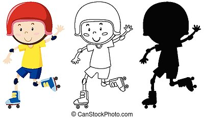 アウトライン, 男の子, 遊び, シルエット, スケート, 色, ローラー