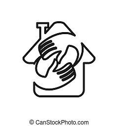 アウトライン, 約束, 一緒に, 手, チームワーク, 家, ロゴ