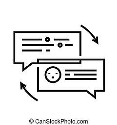 アウトライン, 線, ベクトル, 印, イラスト, 線である, チャット, シンボル。, 概念, アイコン