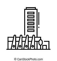 アウトライン, 線, ベクトル, 印, イラスト, 線である, 建物, シンボル。, 概念, アイコン