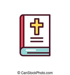アウトライン, 色, illustration., 線, icon., 聖書, ベクトル, pictogram