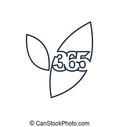 アウトライン, 葉, アイコン, 農場, ロゴ, デザイン, 無限点, イラスト, 365
