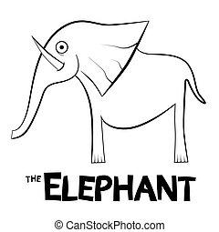 アウトライン, 隔離された, イラスト, 背景, 象, 白