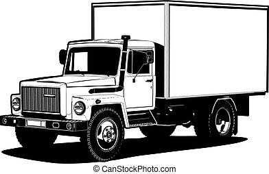 アウトライン, 隔離された, ベクトル, トラック, テンプレート, 白
