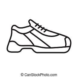 アウトライン, 靴, footwear., icon., 印。, スポーツ, スニーカー