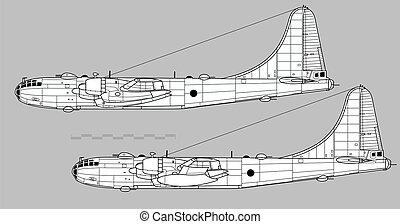 アウトライン, b-50, ベクトル, boeing, superfortress., 図画