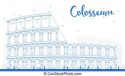 アウトライン, colosseum, 中に, rome., italy., ベクトル, illustration.