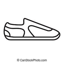 アウトライン, footwear., 靴, 印。, スポーツ, icon., スニーカー